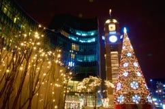 In front of Sarang Church Korea. Christmas  light decoration at Sarang Church in Korea Royalty Free Stock Photography