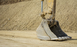Front scoop of an Earth mover. Close up on the bucket of an earth mover at a quarry in the UK Stock Image