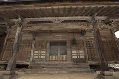 Front of Shinto temple, Japan. Steps leading to Shinto temple, Ainokura, Japan Royalty Free Stock Photo