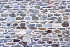 Front shoot of contrast masonry stone wall made by turkish wall craftsman royalty free stock image