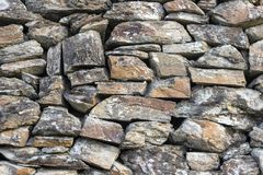 Front shoot of masonry stone wall without plaster as texture sample royalty free stock photography