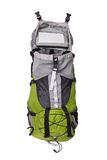 Front shot of opened green touristic backpack Royalty Free Stock Images