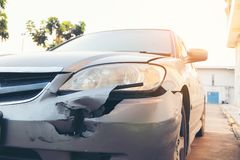 Front side of accident car. Car crash accident damaged automobiles after collision in city, insurance, stock photos