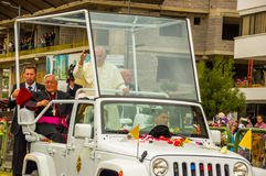 Front side angle Pope Francis motorcade driving Stock Photo