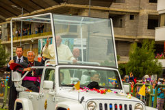 Front side angle Pope Francis motorcade driving Royalty Free Stock Photo