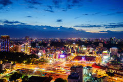 Front side of Ben Thanh market and the surroundings in twilight, Saigon, Vietnam Stock Images