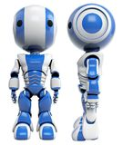 Front and side of blue robots. Front and side view of two blue robots isolated on a white background Stock Photography