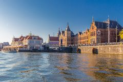 Front side of the central station in Amsterdam CBD royalty free stock photo