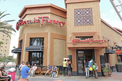 Front side of the Cheesecake Factory restaurant. In Las Vegas with people waiting outside to get seated Stock Photos