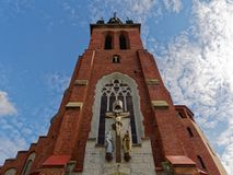 Front side of church looking sky. Church from front side. Perspective view from bottom to beautiful sky royalty free stock images