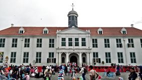 The Front Side of Colonial Style Building of Dutch in North Jakarta Kota Tua, Kota Lama, Fatahilah Museum History with People A Royalty Free Stock Photos