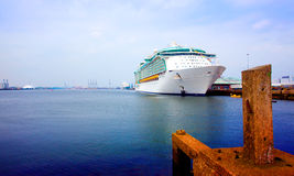 Front and side of cruise ship Royalty Free Stock Photo