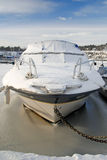 Front side for frozen motorboat Royalty Free Stock Images