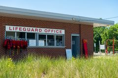 Lifeguard office at a beach royalty free stock images