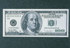 Front side of the new 100 dollar bill. This is the front side of the new 100 dollar bill. It shows the new, larger portrait of Ben Franklin in the center royalty free stock photos
