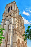 Front side of Notre Dame de Paris Cathedral, most beautiful Cath Royalty Free Stock Photos