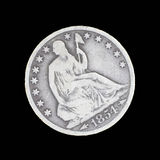 Front side of old seated liberty half dollar Stock Photo