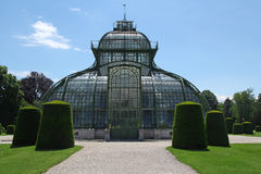 Front side of palm house in Schonbrunn Garden in Vienna, Austria Royalty Free Stock Photography