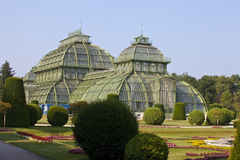Front side of palm house  in Vienna Stock Photo