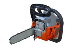Front side of professional chain saw royalty free stock photography