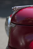 Front side of a red peugeot vintage car Royalty Free Stock Image