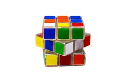 Front side of rubik's cube. On white surface royalty free stock photo
