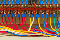 Front side showing colorful electrical wiring closeup Royalty Free Stock Image