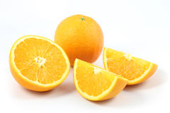 Front side slice orange. On white background Stock Photos