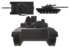 A front side and top down views of a modern modified main battle tank. A computer generated illustration image of the front side and top down views of a modern vector illustration