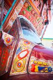 Decoration on a pakistani truck. Front side truck backside decorated pakistani decoration art artist paint painter flower heart culture wheels auto bedford royalty free stock photo