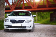Front-side view of a car. On nature background Stock Photos