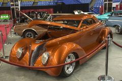 Custom hot rod car. Front side view of custom hot rod car in display during the autorama montreal september 16-17 2017 Stock Photography