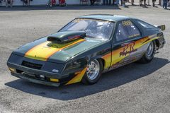 Drag car. Front side view of drag car in display during the john scotti all out, august 20 2016 Royalty Free Stock Photography
