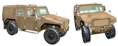 Front and side view of military jeep Royalty Free Stock Images
