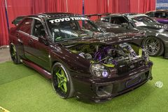 Subaru modified. Front side view of modified subaru car in display during the autorama montreal september 16-17 2017 Royalty Free Stock Photo