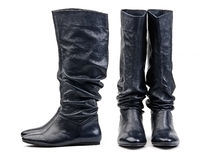 Front and side view of pair of black female boots stock photos