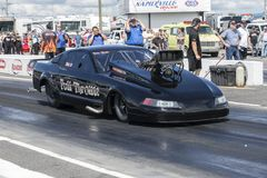 Pro mod drag car. Front side view of pro mod drag car on the track during the john scotti all out august 17, 2017 royalty free stock photography