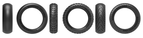 Front and side view of racing, road and off-road, motorcycle tires. 3d rendering Royalty Free Stock Photos