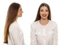 Front and side view of the same woman Royalty Free Stock Photography