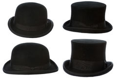 Front and side view of top and bowler hats isolated Stock Photos