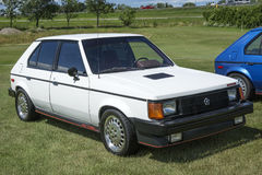 Dodge omni glh. Front side view of white dodge omni glh in display during the granby international 28-30 july 2017 royalty free stock image