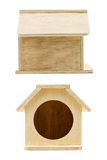 Front and side view wooden bird house Stock Photography