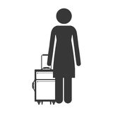 Front silhouette of woman with suitcases Royalty Free Stock Photos