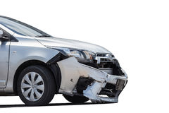 Front of silver car get damaged by crash accident on the road. I. Solated on white background. Saved with clipping path Royalty Free Stock Images