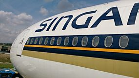 Front of Singapore Airlines plane Stock Photo