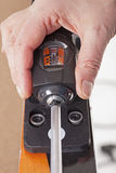 Front ski binding adjustment Royalty Free Stock Image