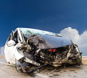 Front sky wrecked car Royalty Free Stock Image