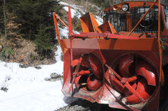 Front snowblower. On the mountain train track in Wendelstein - Germany Stock Image