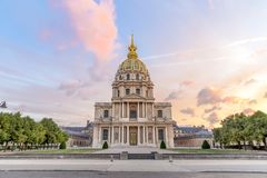 The front / south side view of Les Invalides L`hôtel des Invalides at sunrise Royalty Free Stock Photo