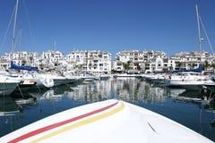 Front of Speedboat in port. Front of luxury Speedboat in Puerto Banus harbour in sunny Spain stock images